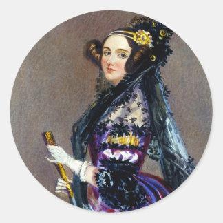 Rey Countess del Ada de Lovelace de Alfred Chalon Etiquetas Redondas