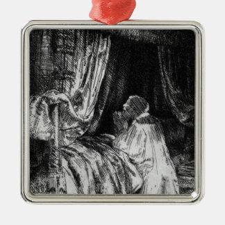 Rey David en el rezo, 1652 Adorno Cuadrado Plateado