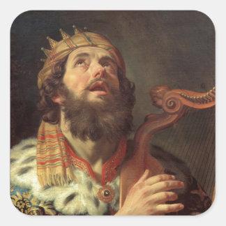 Rey David Playing la arpa Pegatina Cuadrada
