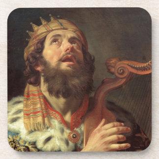 Rey David Playing la arpa Posavasos Para Bebidas