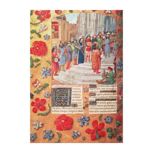 Rey David y músicos, del breviario Lienzo Envuelto Para Galerias