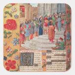 Rey David y músicos, del breviario Calcomanía Cuadrada