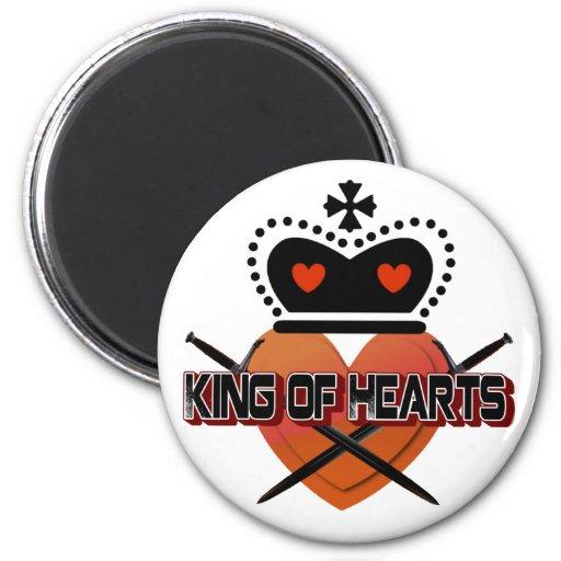 Rey de corazones imán redondo 5 cm