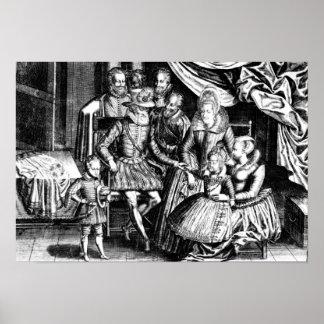 Rey de Enrique IV de Francia con su familia Posters