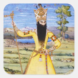 Rey de Fath Ali Fatali Shah Qajar Pegatina Cuadrada