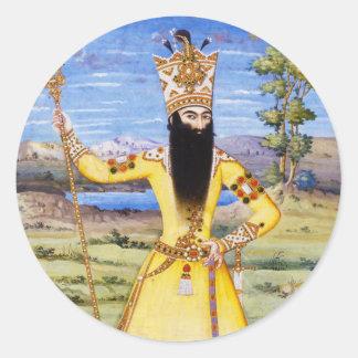 Rey de Fath Ali Fatali Shah Qajar Pegatina Redonda