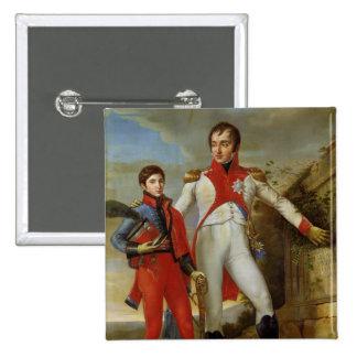 Rey de Holanda y del Príncipe heredero de Holanda Pin Cuadrada 5 Cm