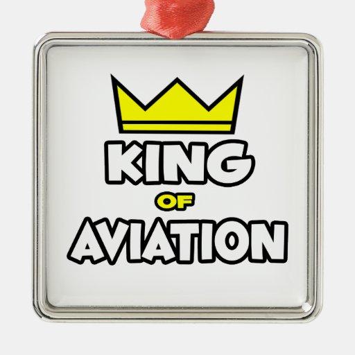 Rey de la aviación adorno cuadrado plateado