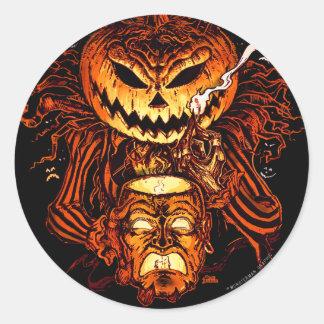 Rey de la calabaza de Halloween Pegatina Redonda