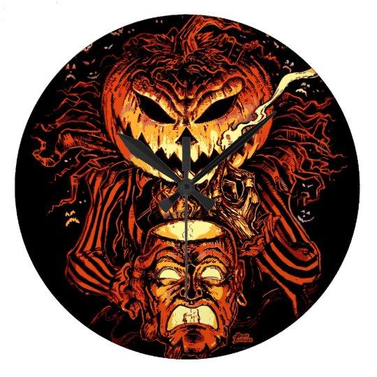 Rey de la calabaza de Halloween Reloj Redondo Grande