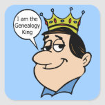 Rey de la genealogía calcomanía cuadrada personalizada