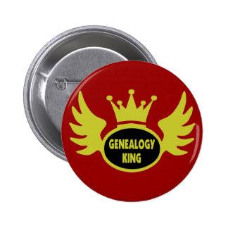 Rey de la genealogía pin redondo de 2 pulgadas