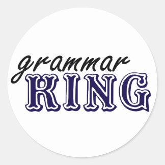 Rey de la gramática pegatina redonda