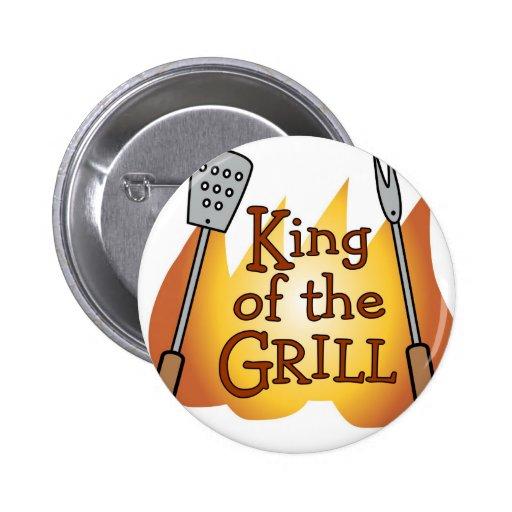 Rey de la insignia del botón de la parrilla pins