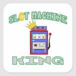 Rey de la máquina tragaperras calcomanías cuadradass personalizadas