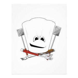 Rey de la parrilla con el gorra del cocinero y las tarjetas publicitarias