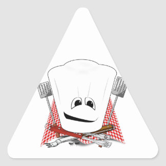 Rey de la parrilla con el gorra del cocinero y las pegatina trianguladas personalizadas