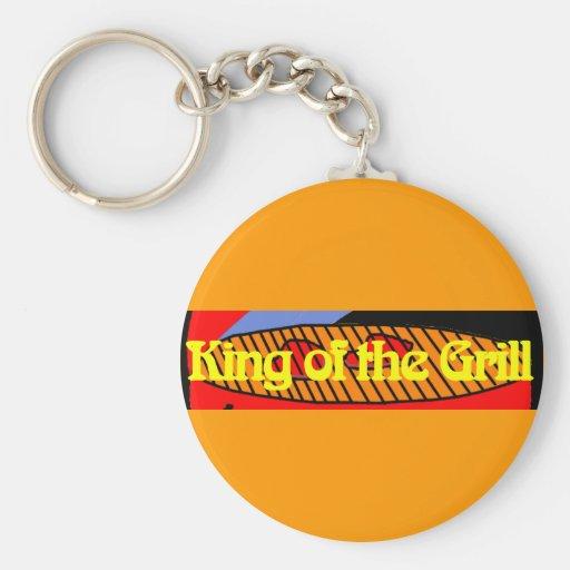 Rey de la parrilla llaveros personalizados