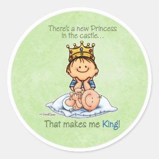 Rey de la princesa - pegatinas de hermano mayor pegatina redonda