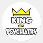 Rey de la psiquiatría pegatina redonda