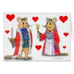 Rey de la rata y reina de la tarjeta de los corazo
