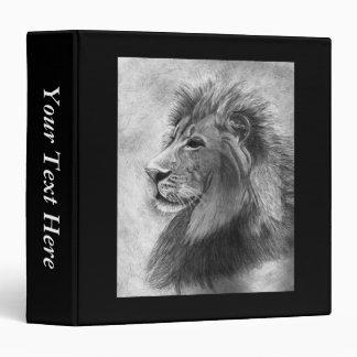 """Rey de la selva, león dibujado mano en grafito carpeta 1 1/2"""""""