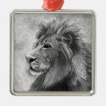 Rey de la selva, león dibujado mano en grafito adorno