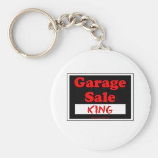 Rey de la venta de garaje llavero redondo tipo pin