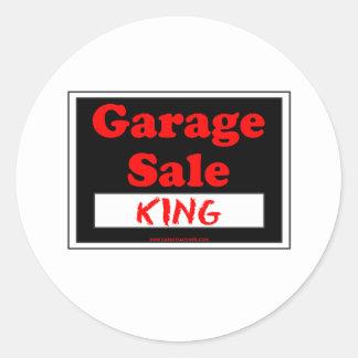 Rey de la venta de garaje pegatina redonda