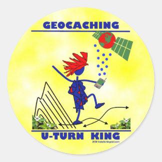 Rey de la vuelta de Geocaching U Pegatina Redonda