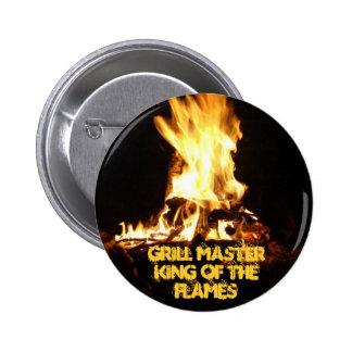 Rey de las llamas pin redondo 5 cm