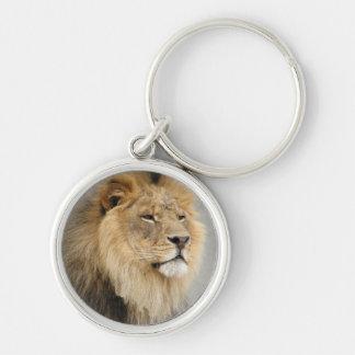 Rey de los amantes del león de la selva llavero redondo plateado