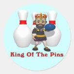 Rey de los bolos pegatina redonda