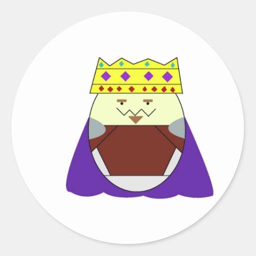 Rey de los tipos del huevo pegatina redonda
