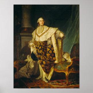 Rey de Louis XVI de Francia en trajes de la corona Poster