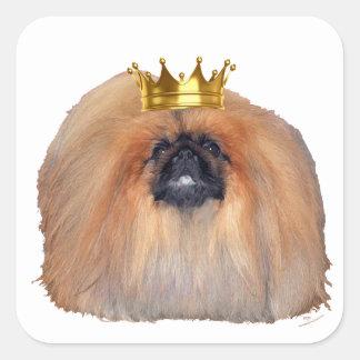 Rey de Pekingese (personalizar si usted desea!) Pegatina Cuadrada