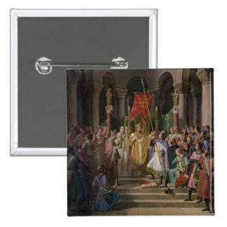 Rey de Philip Augustus de Francia que toma Pin Cuadrada 5 Cm
