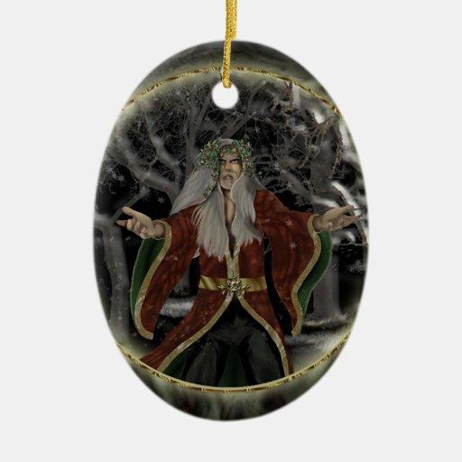 Rey del acebo adorno navideño ovalado de cerámica