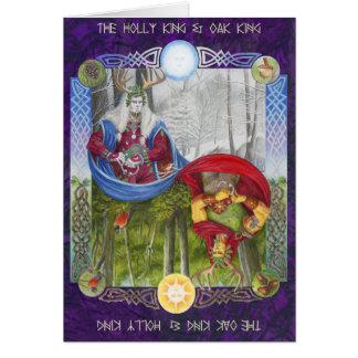 Rey del acebo y rey del roble tarjeta de felicitación