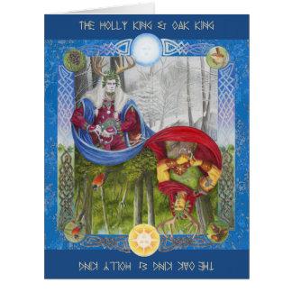 Rey del acebo y rey del roble tarjeta de felicitación grande