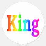 Rey del arco iris pegatina redonda