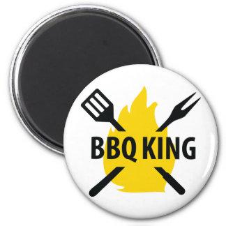 Rey del Bbq con el icono de la llama Imán Redondo 5 Cm