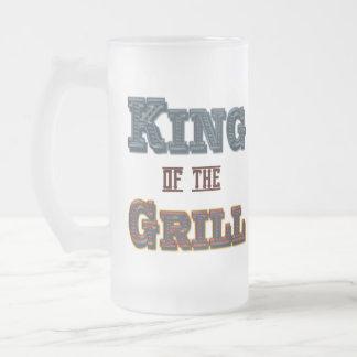 Rey del Bbq de la parrilla que cocina diciendo la Taza De Cristal