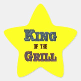 Rey del Bbq de la parrilla que cocina lema Pegatina En Forma De Estrella