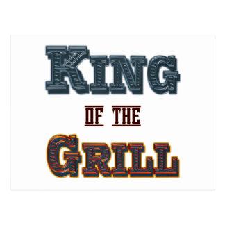 Rey del Bbq de la parrilla que cocina lema Postal