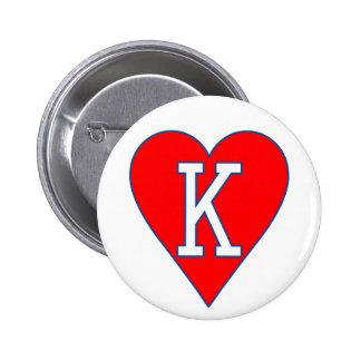 Rey del botón de los corazones pin redondo de 2 pulgadas