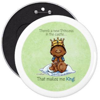 Rey del botón grande afroamericano de princesa Bro Pin Redondo De 6 Pulgadas