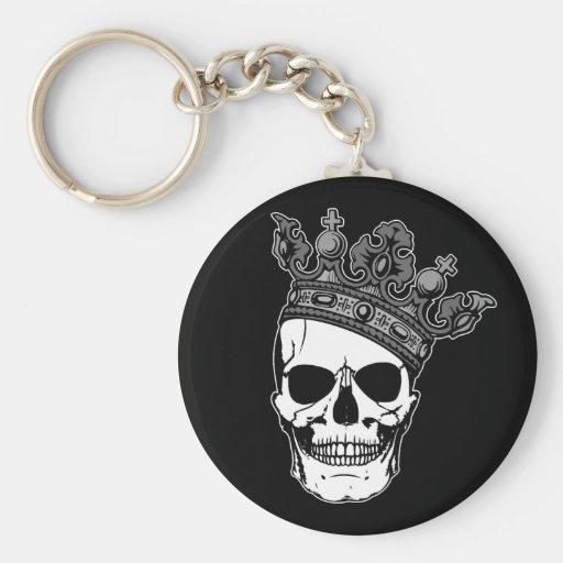 Rey del cráneo llavero redondo tipo pin