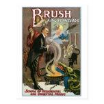 Rey del ~ del cepillo del acto mágico del vintage postal