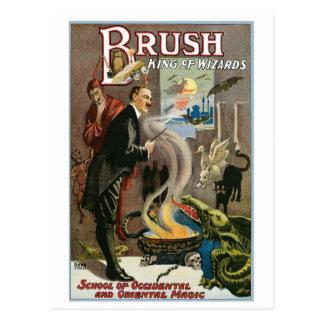 Rey del ~ del cepillo del acto mágico del vintage  postales
